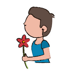 Boy kid son with flower decoration vector