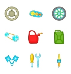 Car repairs icons set cartoon style vector