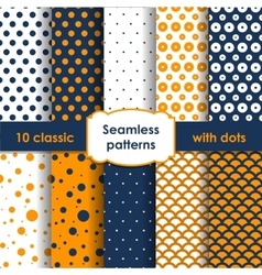 Classic orange blue seamless patterns with dots vector