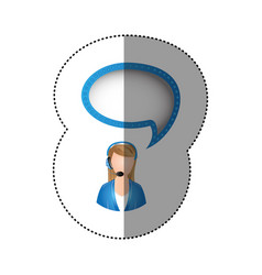 Color sticker of circular frame with woman call vector