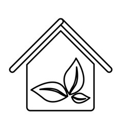 Figure house with leaves inside icon vector