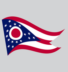 Flag of ohio waving on gray background vector