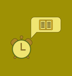 Flat icon thin lines book alarm clock vector