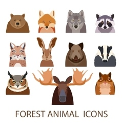 Forest animal flat icons vector image
