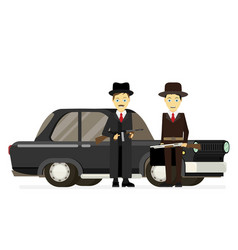gangsters with old car flat vector image vector image