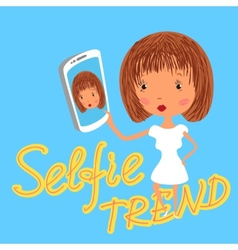 Girl is taking selfie handdrawn on blue background vector
