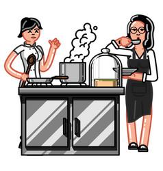 hand sketch chef vector image vector image