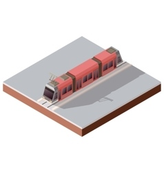 Isometric light train on the rails vector