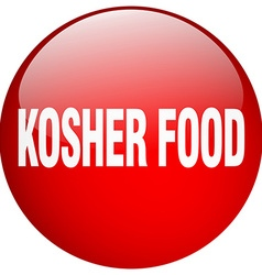 Kosher food red round gel isolated push button vector