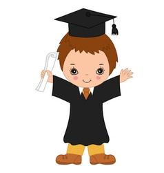 Little boy graduating vector