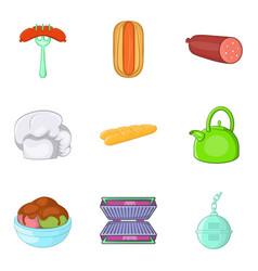 Luncheon icons set cartoon style vector