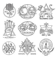 Magic emblems hand drawn set vector
