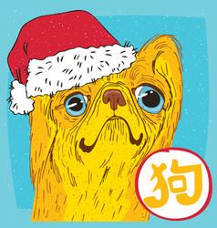 Pekingese or lion dog in santa hat vector
