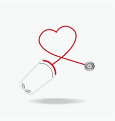 red stethoscope in shape of heart isolated on vector image