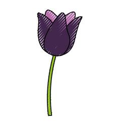 scribble purple flower cartoon vector image vector image