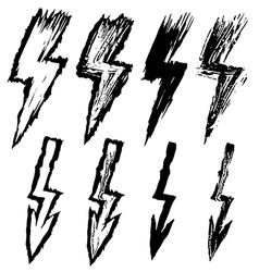 set of black sketchy lightning vector image