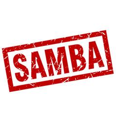 square grunge red samba stamp vector image