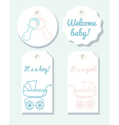 Tags for baby shower vector