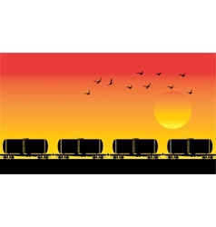 Tank wagons birds and sunset vector image vector image