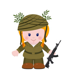 the girl soldier vector image