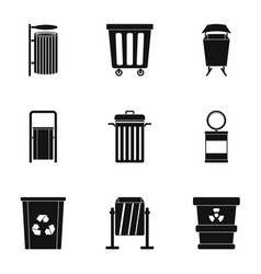 Trash can icon set simple style vector