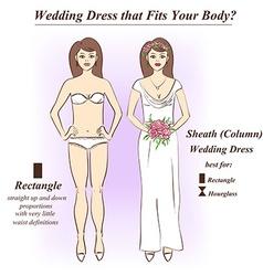 Woman in underwear and sheath wedding dress vector