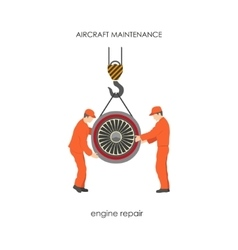 Workers raised the aircraft engine on a lift vector image vector image