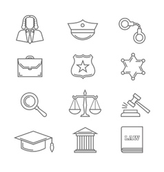 Criminal police law and justice thin line vector