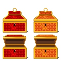 Red and orange magic chests open and close vector