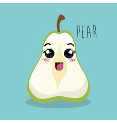 Cartoon pear sliced fruit facial expression design vector