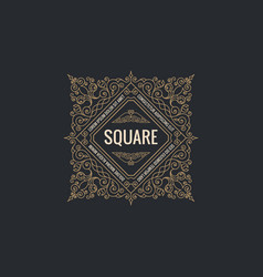 Calligraphic square ornament frame lines vector