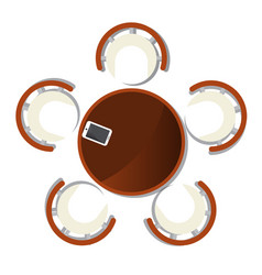 Top view dining room interior with round table vector