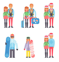 Travel winter vacation time people couples vector