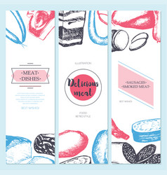 Processed meat - hand drawn template banner vector