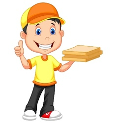 Cartoon delivery boy bringing a cardboard pizza bo vector