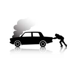 Silhouette of man pushing a broken car vector
