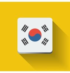 Button with flag of south korea vector