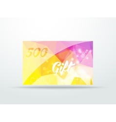 Gift greeting card yellow lila glitter with shine vector