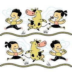 Boy girl cow milk vector image