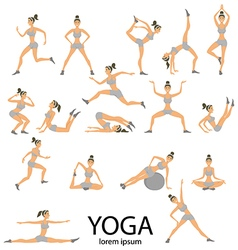 Yoga set women sketch asana girl exercises healthy vector