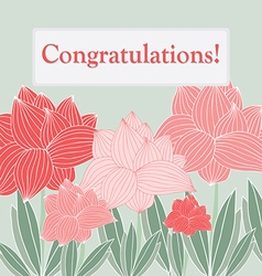 gentle greeting card with scarlet flowers vector image
