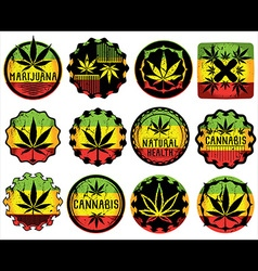 Marijuana cannabis textured leaf symbol stamps vector