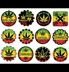 marijuana cannabis textured leaf symbol stamps vector image