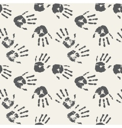 Black and white palm prints seamless background vector