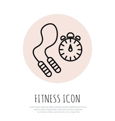 Skipping rope and stopwatch icons vector
