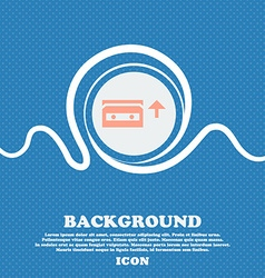 Audio cassette sign icon blue and white abstract vector