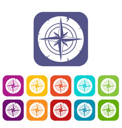 Ancient compass icons set flat vector