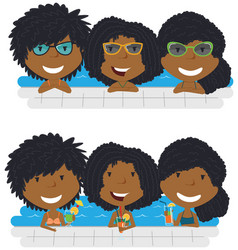 Beautiful african american girls relaxing and vector