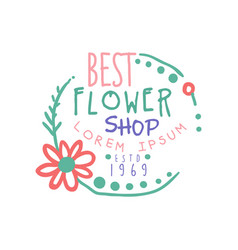 best flower shop logo estd 1969 badge for floral vector image vector image