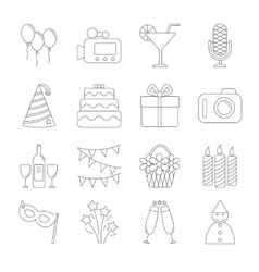 Birthday party line icons vector image